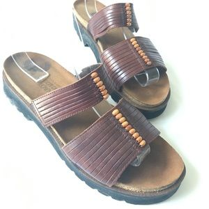 Naot Leather Slides With Beads, Sz 7
